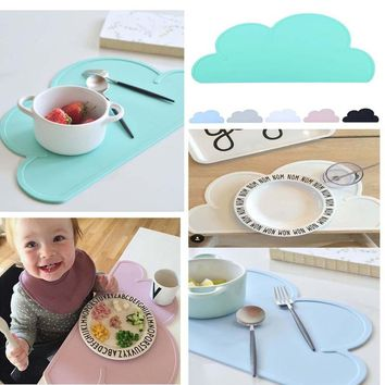 Waterproof FDA Silicone Placemat Bar Mat Baby Kids Cloud Shaped Plate Mat Table Mat Set Home Kitchen Pads