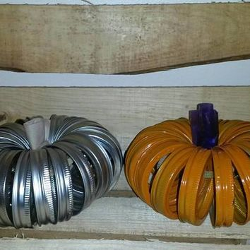 Mason jar lid pumpkin halloween decor (painted & metal option)