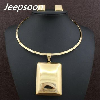 High Quality Square Big Pendant Necklace & Earrings Set