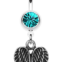 Angel Wing Heart Belly Button Ring