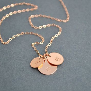 Three Initial Necklace, Rose Gold Filled Initial Disc Necklace, Personalized Necklace, Family Necklace, Everyday Jewelry
