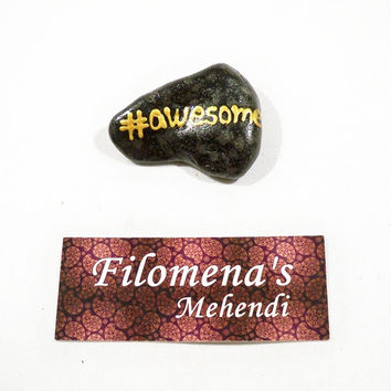 Awesome stone, Art on stone, Awesome sign, You are awesome, Friendship gift, Hashtag, Funny stone, Message rocks, Stones with messages