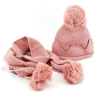 new knitting with ear string baby beanies scarf sets boys girls hats collars suits solid color children caps wraps kids wear hat