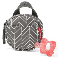 Skip Hop Grab & Go Pacifier Pocket, Grey Feather