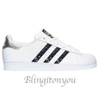 Adidas Original Superstar Women's Shoes Blinged with Black Swarovski Crystals | Brand New and In Box | Blinged Adidas Shoes with Swarovski!!