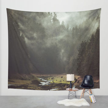 Foggy Forest Creek Wall Tapestry by Kevin Russ