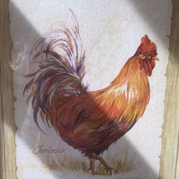 Jerianne Van Dijk 2 Framed Art Chicken Rooster Signed Marilyn Rea & Chanteclair