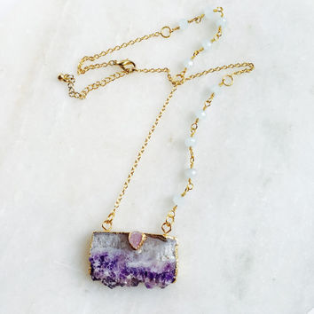Amethyst Gold Necklace | Druzy Rosary Necklace | Druzy Pendant | Boho Jewelry | Amethyst stone | Boho Wedding | Birthstone Necklace | Gift
