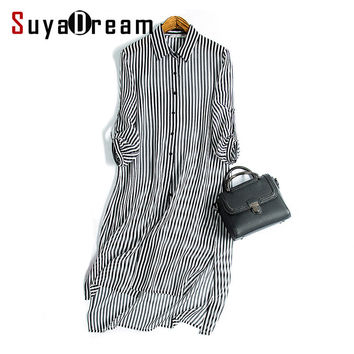 Women Silk Causal dress Luxury 100% Natural silk STRIPED Chiffon Button long Loose dress 2017 Spring
