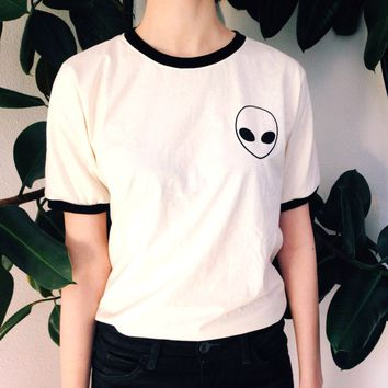 Funny Vogue Women T Shirt Alien Shirt Pocket Tee Ringer Tee Tumblr Summer Top Girl Clothes  Graphic Top Tshirt Women Plus Size