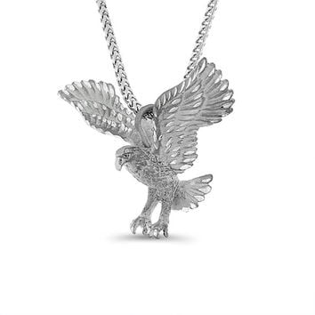 "Sterling Silver 3 dimentional eagle pendant on a 24"" silver franco chain."