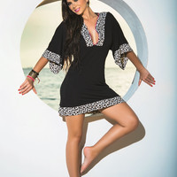 Cheetah Trim Beach Dress & Cover-Up