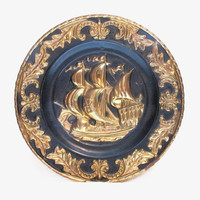 Painted Brass Ship Wall Hanging, Vintage Art