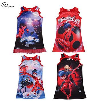 hot fashion Kids Baby Girls Summer Miraculous Ladybug Lace Dress Beetles Cartoon Sleeveless Dress Casual print cotton Dress