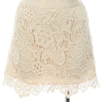 Cream Crochet Overlay Skirt with Waist Band