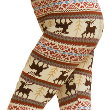 Women's Plus Colorful Holiday Reindeer Diamond Design Printed Leggings