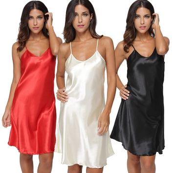 Sexy Lingerie Women's Sleepwear Mini Dress Fashion Satin Solid Chemise Nightgown Dress Woman Deep V Neck Loungewear Pyjamas