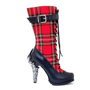 H-CORINNE Custom print plaid knee high boots with 5 prehistoric claw heel