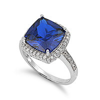 925 Sterling Silver CZ Embraced Square Simulated Sapphire Ring 14MM