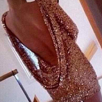 Gold Sequined Bodycon Mini Dress