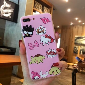 Rlenda Hello Kitty My Melody Mickey Minnie Pooh Bear Chip and Dale Back Cover Phone Case for iphone 7Plus 8 6S 6 Silicone TPU+PC