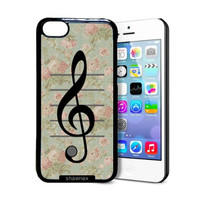 Shawnex VIntage Floral Music Note Treble Clef iPhone 5C Case - Thin Shell Plastic Protective Case iPhone 5C Case