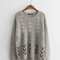 Arrow Print Knitted Sweater