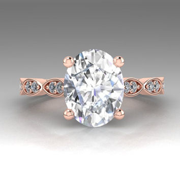 Oval Forever One Moissanite Engagement Ring 14K Rose Gold