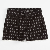 Full Tilt Smocked Diamond Girls Shorts Black/White  In Sizes
