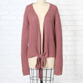 Mauve Tie-Front Knit Sweater