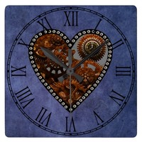 Grunge Steampunk Clocks and Gears Heart