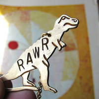 personalized T REX necklace RAWR tyrannosaurus  by friendlygesture