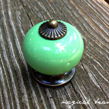 GREEN Ceramic Knob w Oil Rubbed Bronze Mount Pull Glass Decorative Hardware for Furniture, Dressers, Drawers, Cabinets, Decor & Crafts