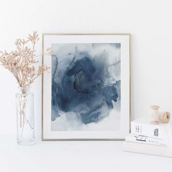 Dark Blue Indigo Watercolor Ink Painting Art Print