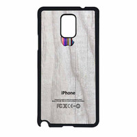 Apple Logo On White Wood Colorful Samsung Galaxy Note 4 Case