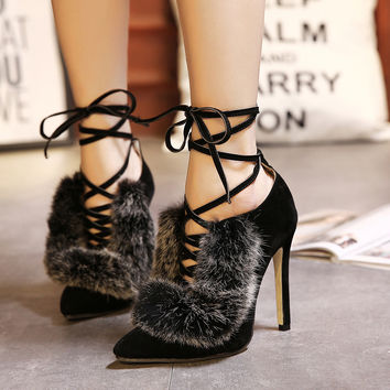 Ankle Strap Rabbit fur heels pumps