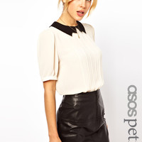 ASOS PETITE Blouse with Contrast Lightening Collar