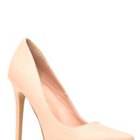 Blush Faux Leather Pointy Toe Classic Pumps