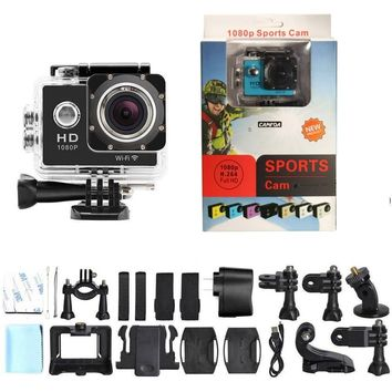 CAMTOA FHD Sports Action Camera Waterproof WIFI 12MP 1080P Action Camera with Carrying Box, Waterproof Housing and Accessories (Black) Black