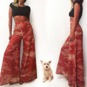 Vintage 1960s 1970s Unworn DeadStock Ultra High Waisted Psychedelic Elephant Bells ||  Size 25 to 26 Waist Bell Bottoms || Size Small