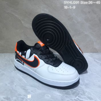KUYYOU N952 Nike Air Force 1 AF1 Low Fashion Urban Preppy Casual Skate Shoes White Black Orange