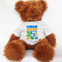 Personalized Baby Gifts New Baby Birth Announcement Tedy Bear Cute Brown Teddy Bear