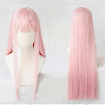 DARLING in the FRANXX Strelizia 02 ZERO TWO 100cm Pink Long Straight Hair Heat Resistant Cosplay Costume Wig + Horn Headwear