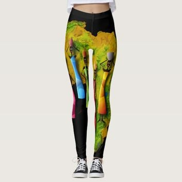 African Women In Colorful Dresses On Africa Map Leggings