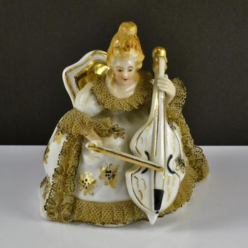 Dresden Lace Figurine Cello Player Seated Gold Trim Occupied Japan Colonial Victorian Renaissance Porcelain Woman