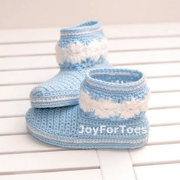 Baby crochet boots baby slippers baby booties children  blue white pastel blue