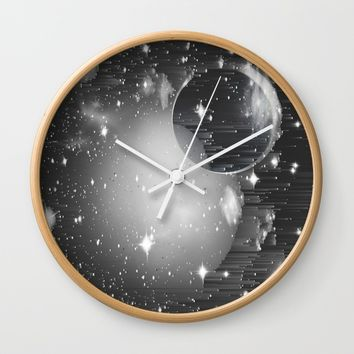 Space Pixels Wall Clock by Ducky B