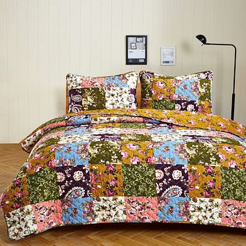 Antique Bloom Twin Quilt Set