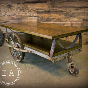 Captivating Vintage Industrial Janesway Rumble Factory Cart Railroad Cart Coffee Table  Cast Iron Wheels