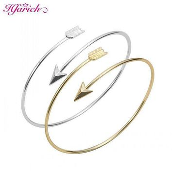 Hfarich Classic Adjustable Arrow Bracelets & Bangles For Women Gold Wrapped Arrow Wire Cuff Bangles Party Gift Female Ey G016